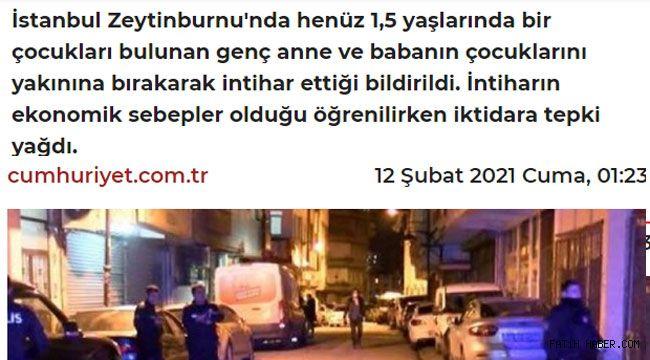 Zeytinburnu'nda korkunç intihar
