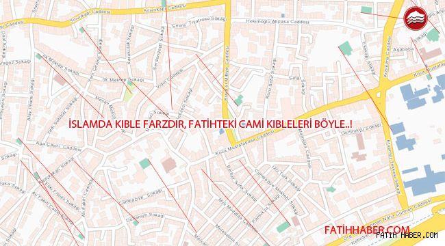 Fatih ilçesi camileri Tam Kıbleye doğru değil
