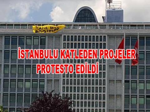İBB BİNASINDA YEŞİL PROTESTO