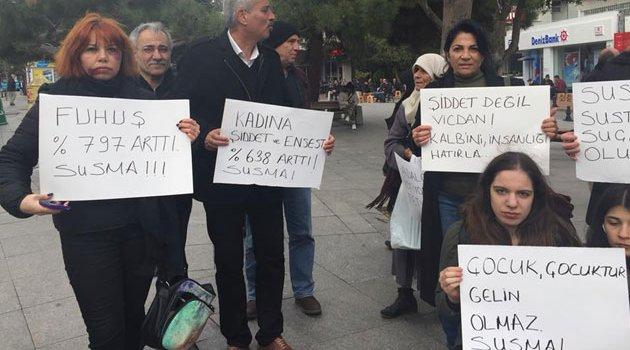 Fatih'te şiddet İstismara HAYIR oturma eylemi